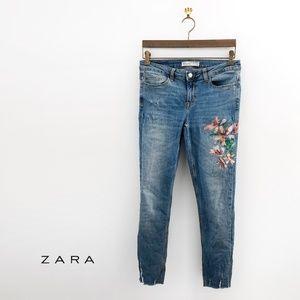 ZARA Z1975 Skinny Jeans With Floral Print 100422